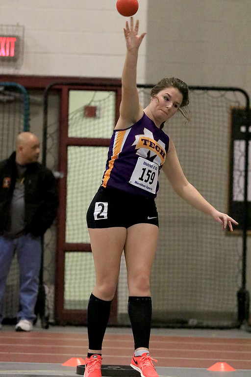 . The Division 2 forty first annual Gerry Frew District E Indoor Invitational Track Meet was held at Fitchburg High School on  Saturday, February 9, 2019. Montachusett Regional Vocational Technical School\'s Katherine Tremblay competes in the shot put during the meet. SENTINEL & ENTERPRISE/JOHN LOVE