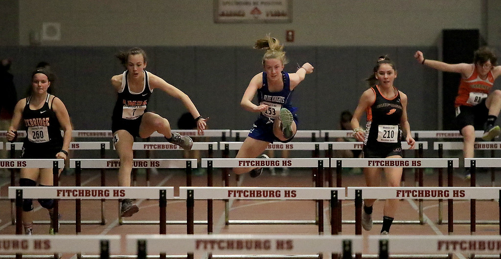 . The Division 2 forty first annual Gerry Frew District E Indoor Invitational Track Meet was held at Fitchburg High School on  Saturday, February 9, 2019. Lunenburg Middle High School\'s Devin Tormey competes in the 55 meter hurdles during the meet. SENTINEL & ENTERPRISE/JOHN LOVE