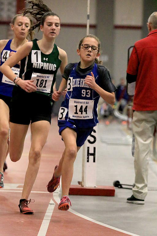 . The Division 2 forty first annual Gerry Frew District E Indoor Invitational Track Meet was held at Fitchburg High School on  Saturday, February 9, 2019. Leading the way in the girls two mile is Lunenburg Middle School seventh grader Lauren Long. SENTINEL & ENTERPRISE/JOHN LOVE