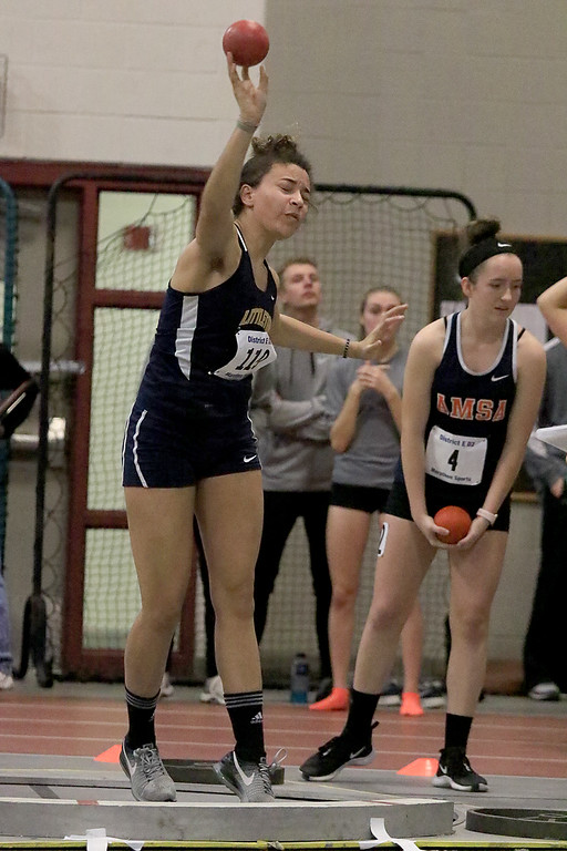 . The Division 2 forty first annual Gerry Frew District E Indoor Invitational Track Meet was held at Fitchburg High School on  Saturday, February 9, 2019. Littleton High Schools\' Keanna French competes in the shot put during the meet. SENTINEL & ENTERPRISE/JOHN LOVE