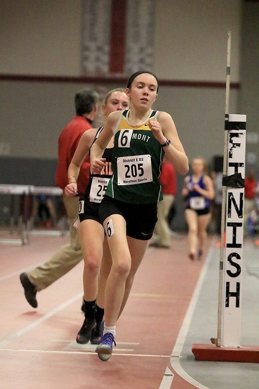 . The Division 2 forty first annual Gerry Frew District E Indoor Invitational Track Meet was held at Fitchburg High School on  Saturday, February 9, 2019. Oakmont Regional High School\'s Fiona Picone competes in the two mile. SENTINEL & ENTERPRISE/JOHN LOVE