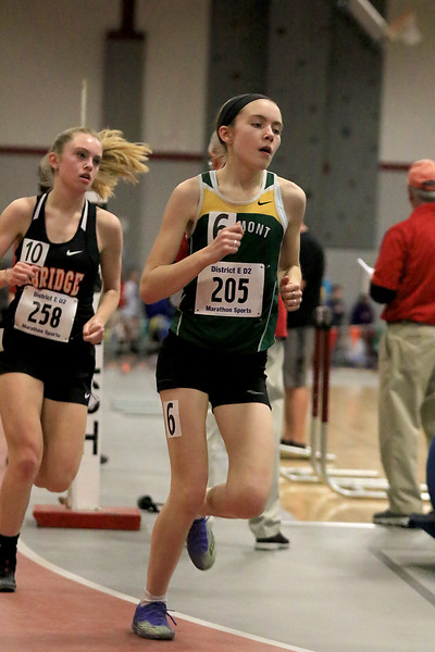 The Division 2 forty first annual Gerry Frew District E Indoor Invitational Track Meet was held at Fitchburg High School on  Saturday, February 9, 2019. Oakmont Regional High School's Fiona Picone competes in the two mile. SENTINEL & ENTERPRISE/JOHN LOVE