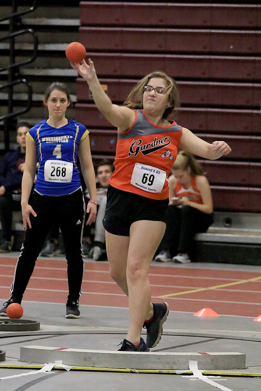 . The Division 2 forty first annual Gerry Frew District E Indoor Invitational Track Meet was held at Fitchburg High School on  Saturday, February 9, 2019. Gardner\'s Ailin Burns competes in the shot put during the meet. SENTINEL & ENTERPRISE/JOHN LOVE