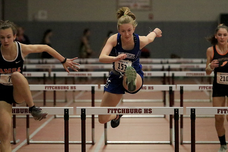 The Division 2 forty first annual Gerry Frew District E Indoor Invitational Track Meet was held at Fitchburg High School on  Saturday, February 9, 2019. Lunenburg Middle High School's Devin Tormey competes in the 55 meter hurdles during the meet. SENTINEL & ENTERPRISE/JOHN LOVE