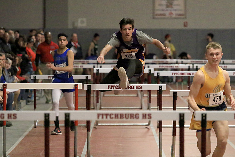 The Division 2 forty first annual Gerry Frew District E Indoor Invitational Track Meet was held at Fitchburg High School on  Saturday, February 9, 2019. Montachusett Regional Vocational Technical School's Chad Brouillet competes in the 55 meter hurdles during the meet. SENTINEL & ENTERPRISE/JOHN LOVE
