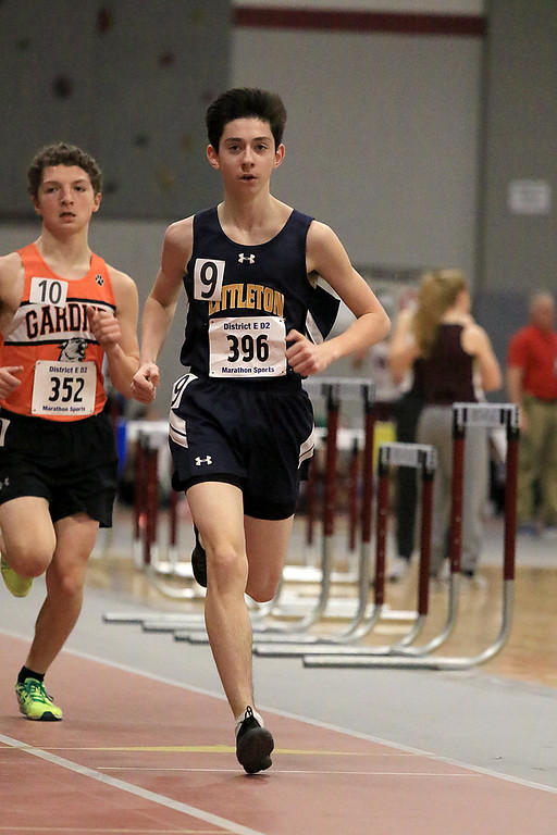 . The Division 2 forty first annual Gerry Frew District E Indoor Invitational Track Meet was held at Fitchburg High School on  Saturday, February 9, 2019. Littleton High School\'s Micheal Morana competes in the two mile during the meet. Just behind him is Gardner High Schools Jack McDermott. SENTINEL & ENTERPRISE/JOHN LOVE