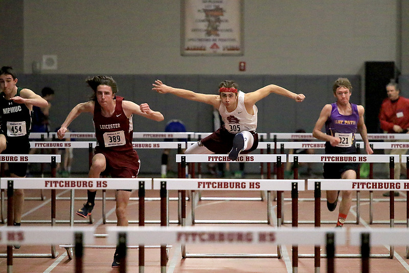 The Division 2 forty first annual Gerry Frew District E Indoor Invitational Track Meet was held at Fitchburg High School on  Saturday, February 9, 2019. Ayer Shirley Regional High School's Mason Casavecchia competes in the 55 meter hurdles during the meet. SENTINEL & ENTERPRISE/JOHN LOVE