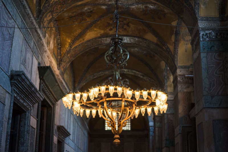 lights inside hagia sophia