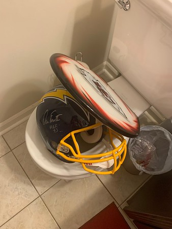 Falling behind against the chargers... helmet had to go to the toilet.