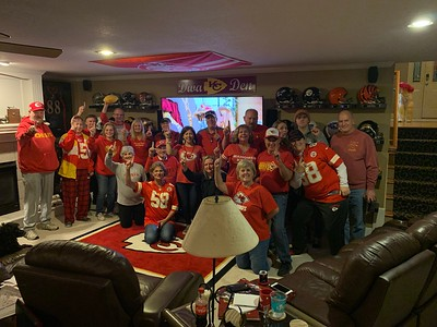 Super Bowl Crowd in the Den.