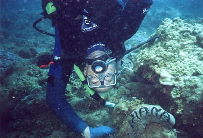 Here's PT with a sea cucumber for Diana!