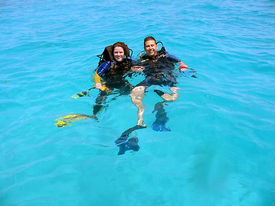 sis and matt diving in belize 61083319-O