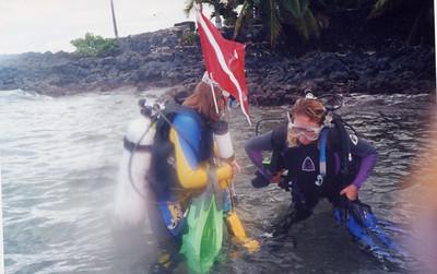 Sis Laura and Teri diving at Ahihi Bay (Maui)