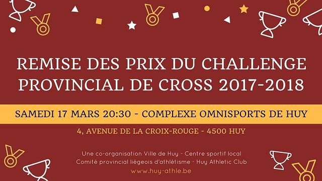 Remise des prix du challenge provincial de cross 2017-2018
