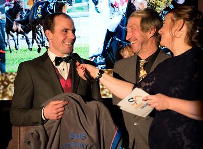 Henrik Engblom intervjuas av Lotta Malmborg, med på bild K-B Wirenstål Årets Hästfest på Bro Park 170121 Foto: Elina Björklund / Svensk Galopp