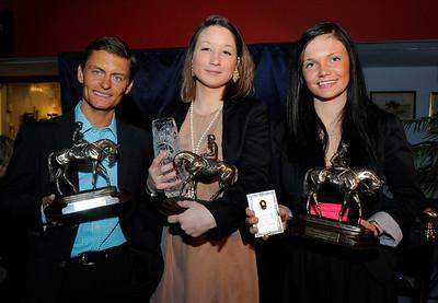 Jockeychampion Per-Anders Gråberg, lärlingschampion Fabienne De Geer och amatörryttarchampion Fanny Olsson | Årets Hästfest Täby Galopp 130406|  Foto: Stefan Olsson / Svensk Galopp