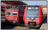 Nyt og gammelt S-tog side om side på Farum Sation. Foto: Torben Christensen  København ©  Ayoe Bryndis