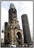 Kaiser-Wilhelm-Gedächtnis-Kirche, Berlin. Evangelisk kirke bygget til minde om kejser Wilhelm. Den blev indviet i 1895 og bombet i 1943, således at kun tårnet fra den gamle kirke står tilbage i dag. I 1963 blev der opført en moderne bygning i blåt glas til erstatning for den gamle kirkes skib  Photo Torben CHristensen