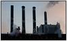 Skorstene i silhuet mod himlen  på H.C. Østed Værket, Energi E2 . Foto: Torben Christensen  København ©