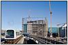 DR byggeriet i Ørestaden med Metrostation og Metro tog i forgrunden  DR Byen<br /> <br /> . Foto: Torben Christensen  København ©