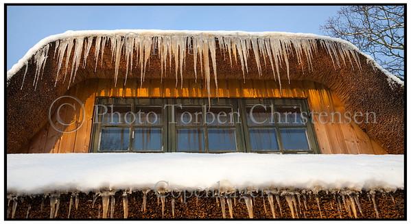 Istapper på hus med stråtagFoto: Torben Christensen  København ©