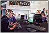 Koncentrerede spillere i gang foran deres computerskærme ved WCG, World Cyber Games i Illum 10. oktober 2009.   Foto: Torben Christensen  København ©