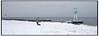 Enlig dame lufter hund ved livredder tårnet   på Bellevue Strand der er  dækket af sne i januar 2010 <br />  . Photo: Torben Christensen © Copenhagen, Foto: Torben Christensen  København ©