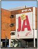 Reklamebanner for PFS Pension i Sundkrogsgade på Østerbro. Photo: Torben Christensen © Copenhagen, Foto: Torben Christensen  Købenihavn ©