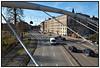 Biltrafik, bilkø,  biler set fra den nye gangbro  over  Åboulevarden i København