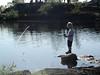 Førstevann, Tøttadalen, et lite vann der unger får fiske gratis. Bak står NOT og NOJFF - og kommunen.