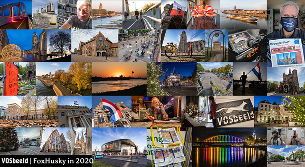 Het jaar 2020 was bijzonder. Door de coronacrisis vielen bijna alle evenementen uit, dus geen Dickens Festijn, geen Boekenmarkt, geen Deventer op Stelten, geen IJsselloop, enzovoorts. Er zijn wél foto's gemaakt uiteraard, maar dan vooral van gebouwen in de stad en beelden van de gevolgen van de pandemie. Ook in 2020: de vlag ging uit op 10 april, om te herdenken dat Deventer 75 jaar eerder werd bevrijd. Op 11 oktober was de Wilhelminabrug prachtig in regenboogkleuren. Het NS-station bestond in 2020 precies 100 jaar, geen feest, maar nog wel fraaie foto's kunnen maken.