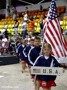 USA marching in at 2002 Canada US Challenge  Harrison is 3rd in line
