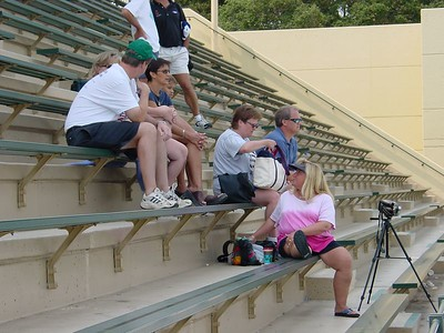 Wendy and others watching warm-ups