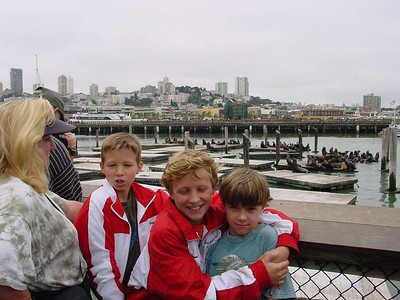 Wendy, & the boys watching the seals at the pier