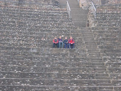 Ancient Roman Theater - Harrison, Kara, Jake & JJ about half way up