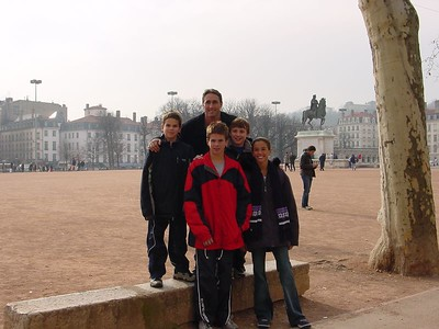 Coach Adam with Jake Kinsbach, and competitors, JJ Kinsbach, Harrison Jones, & Kara Cook in Lyon's main square