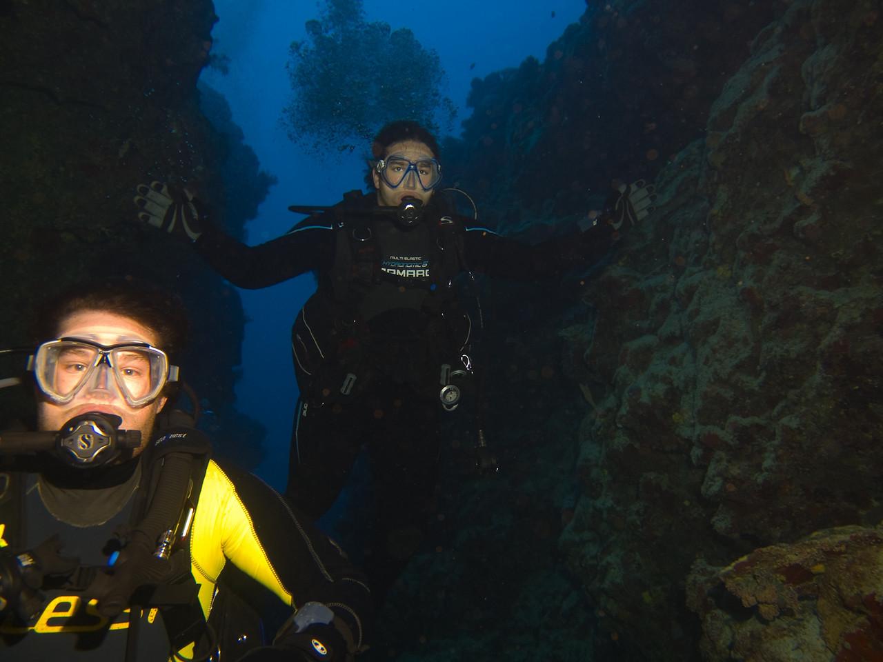 Michael and Timo entering Thomas Canyon  Thomas Reef Read Sea