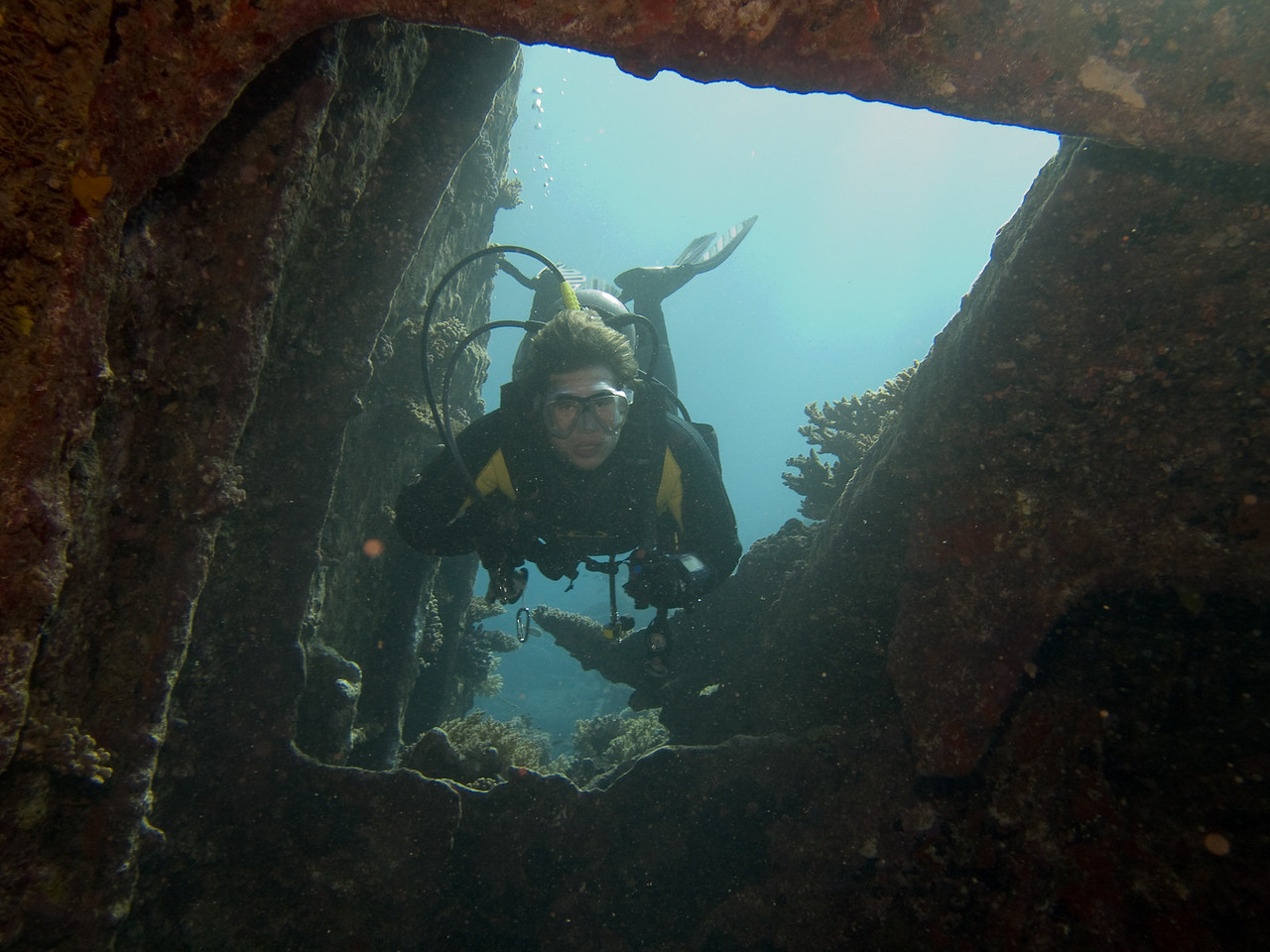Michael on SS Kingston Wreck entering