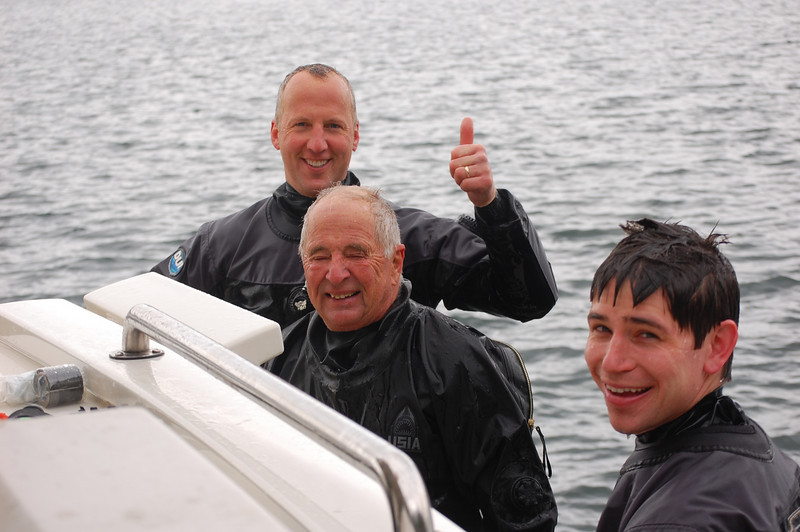 It's all good! Joe Gaydos, Bill Anders and Nick Brown after the dive