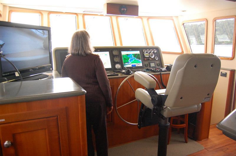 The bridge, with the video monitor for the 'virtual dive' set up on the left hand side.