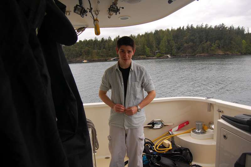 Nick starts getting ready for the dive