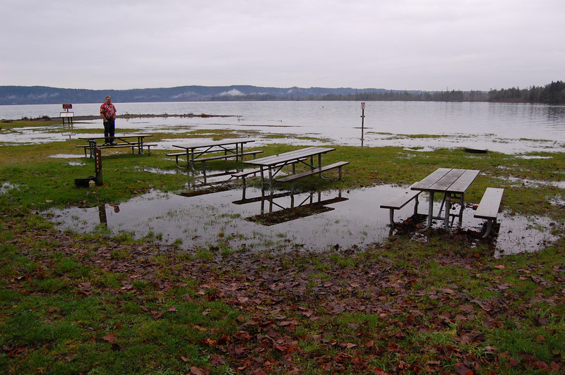 Talk about high tide! This was Potlatch state park as we drove by. WOW!