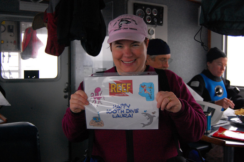 Laura's 100th and 101st dives were...umm...shall we say eventful? Flooded her strobe on her camera on # 100, then lost her 10 pound weight pouch on #101. Bad day to be Laura! (except she did pass her level 3 test with flying colors)