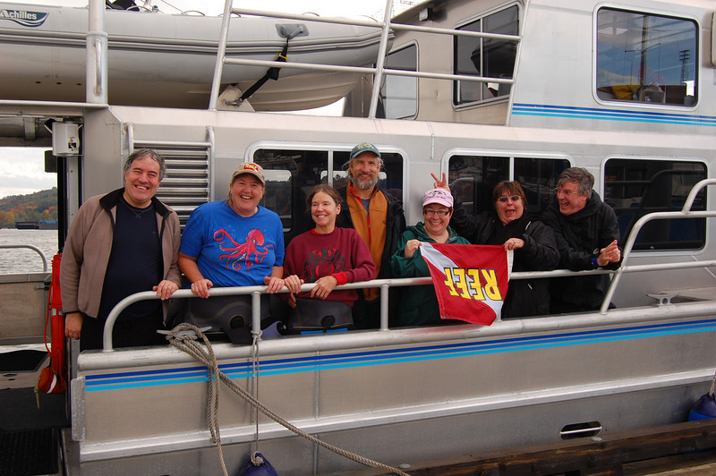 Crazy-go-nuts boatload of fish geeks: Claude, me, Christine Pendergrass, Jim Pendergrass, Laura Tesler, Kathy Washburn and Dave Washburn. Turning the REEF world upside down, one fish at a time...