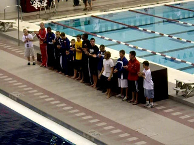Harrison being announced for the Finals!!  Let's see if I can name the boys from left to right, Casey, Derek, Steel, Murdock???, mini-Cooper, T. Stanley??, Dante, Banouchi, Drew, Harrison, Cooper, Boudia.