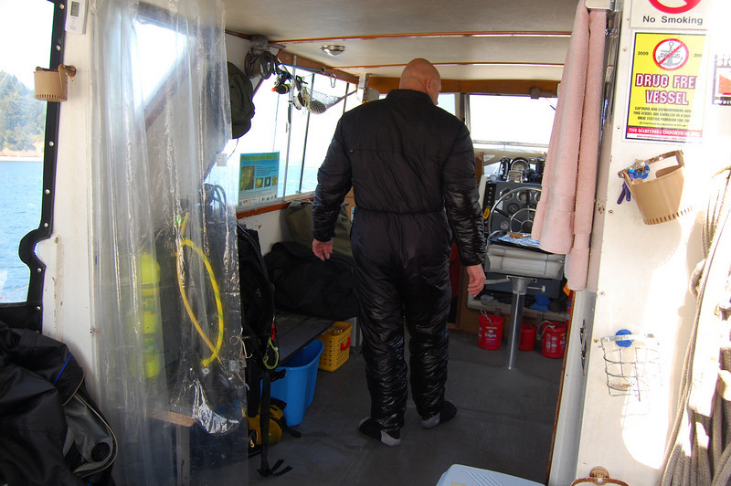 Dan's undergarment is mighty wet after the first dive.