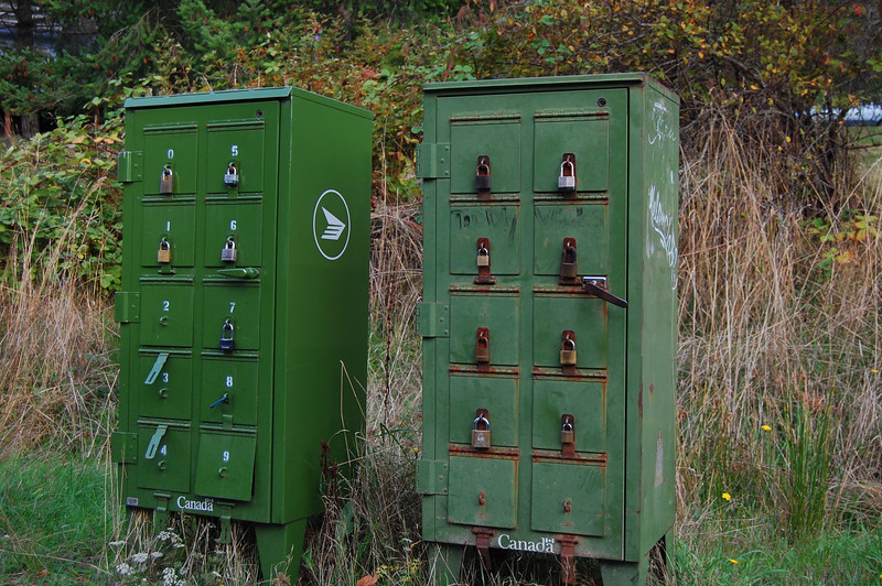 Mailboxes along the road.