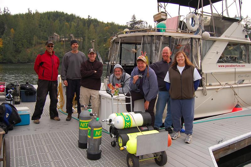 Capt. Don Coleman, Greg Jensen, Todd Cliff, Tom Nicodemus, Janna Nichols, Dave Rintoul and Pam Jensen.