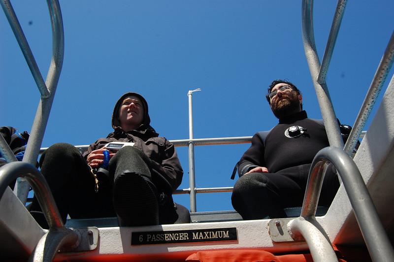 David and Josh on the flying bridge. Sun!