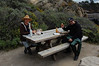 David Todd and Jonathan Lavan enjoy lunch at scenic Whaler's Cove in Point Lobos